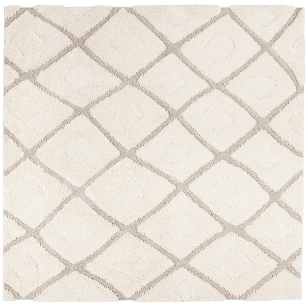 "Safavieh Olympia Shag Cream/ Beige Polyester Rug - 6'7"" x 6'7"" square"