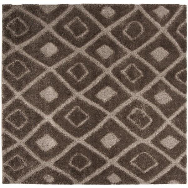 Safavieh Olympia Shag Mushroom Polyester Rug - 6'7 Square