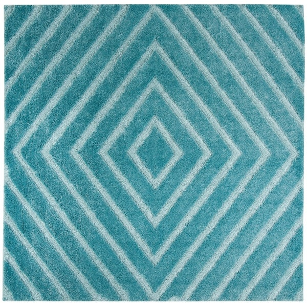 Safavieh Olympia Shag Blue Polyester Rug (6'7 Square)