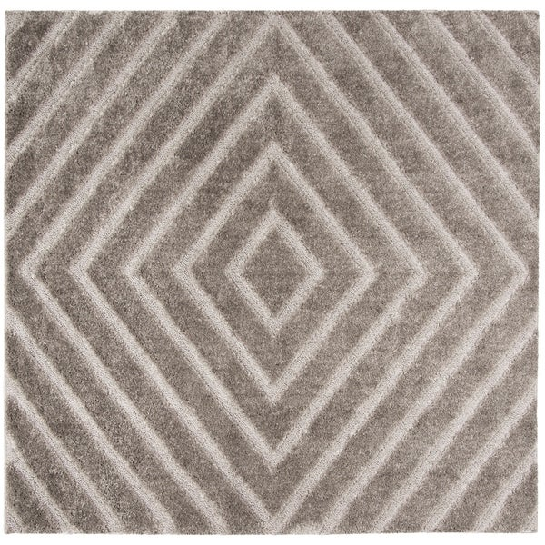 Safavieh Olympia Shag Silver Polyester Rug - 6'7 Square