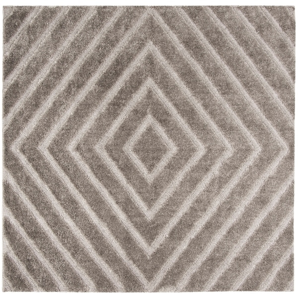 """Safavieh Olympia Shag Silver Polyester Rug - 6'7"""" x 6'7"""" square"""