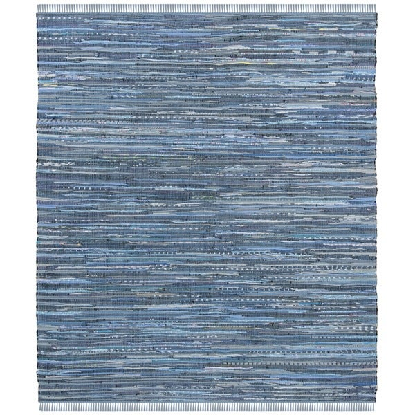 Safavieh Hand-Woven Rag Rug Bohemian Blue/ Multi Cotton Rug (6' Square)