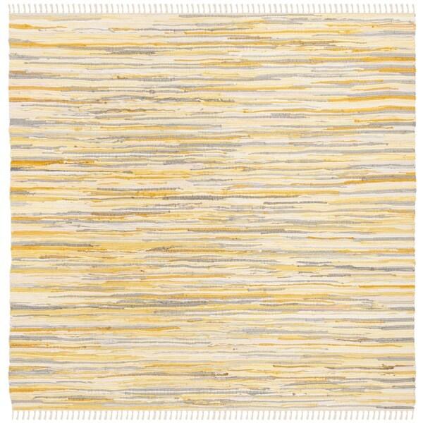 Safavieh Hand-Woven Rag Rug Bohemian Gold/ Multi Cotton Rug - 6' x 6' Square