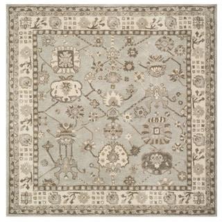 Safavieh Handmade Royalty Silver/ Cream Wool Rug (7' Square)