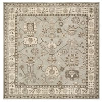 Safavieh Handmade Royalty Silver/ Cream Wool Rug - 7' x 7' Square