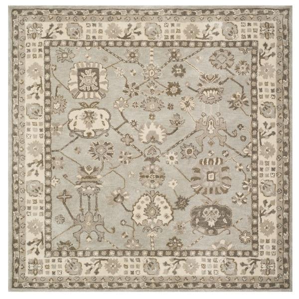Safavieh Handmade Royalty Silver/ Cream Wool Rug - 7' Square
