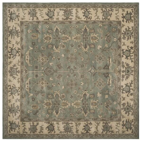 Safavieh Handmade Royalty Slate/ Cream Wool Rug - 7' Square