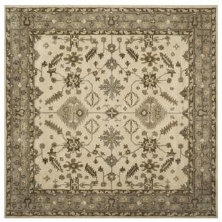 Safavieh Handmade Royalty Cream/ Light Grey Wool Rug (7' Square)