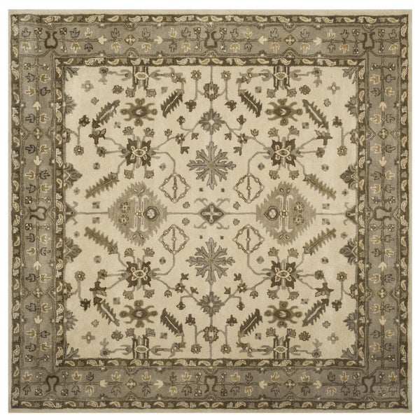 Safavieh Handmade Royalty Cream/ Light Grey Wool Rug - 7' x 7' Square