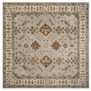 Safavieh Handmade Royalty Light Grey/ Cream Wool Rug (7' Square)