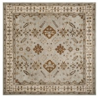 Safavieh Handmade Royalty Light Grey/ Cream Wool Rug - 7' x 7' Square