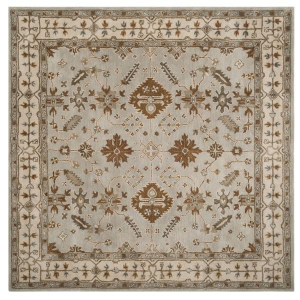 Safavieh Handmade Royalty Light Grey/ Cream Wool Rug - 7' x 7' Square