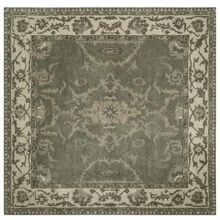 Safavieh Handmade Royalty Grey/ Cream Wool Rug (7' Square)