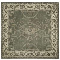 Safavieh Handmade Royalty Grey/ Cream Wool Rug - 7' Square