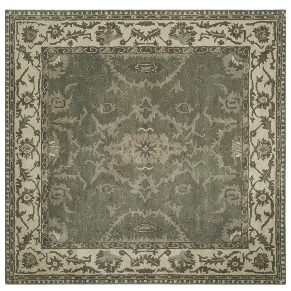 Safavieh Handmade Royalty Grey/ Cream Wool Rug - 7' Square