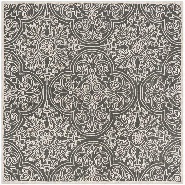 Safavieh Handmade Trace Dark Grey/ Light Grey Wool Rug - 6' Square
