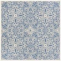 Safavieh Handmade Trace Blue/ Ivory Wool Rug - 6' Square