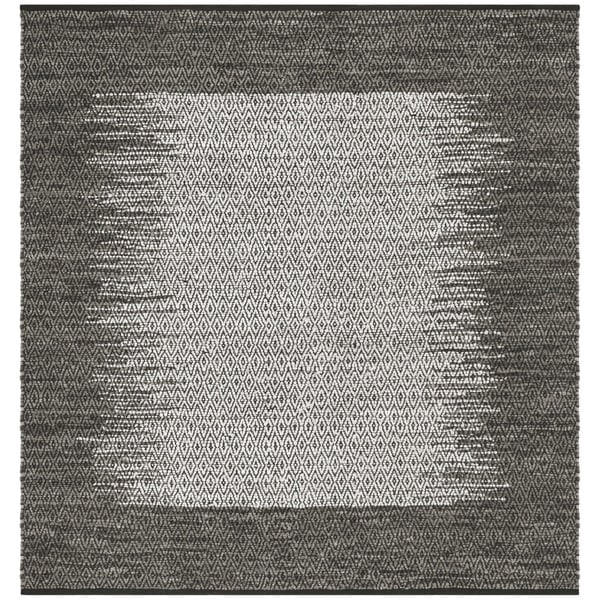 Safavieh Hand-Woven Vintage Leather Light Grey/ Grey Leather Rug (6' Square)