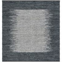 Safavieh Hand-Woven Vintage Leather Light Grey/ Charcoal Leather Rug - 6' Square