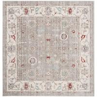 Safavieh Windsor Vintage Light Grey/ Ivory Cotton Rug - 6' Square