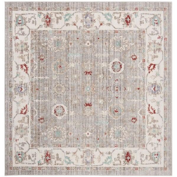 Safavieh Windsor Vintage Light Grey/ Ivory Cotton Rug (6' Square)