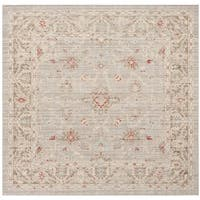 Safavieh Windsor Vintage Light Grey/ Brown Cotton Rug (6' Square)