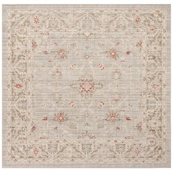 Safavieh Windsor Vintage Light Grey/ Brown Cotton Rug - 6' Square