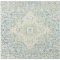 Safavieh Windsor Vintage Blue/ Lime Cotton Rug - 6' Square