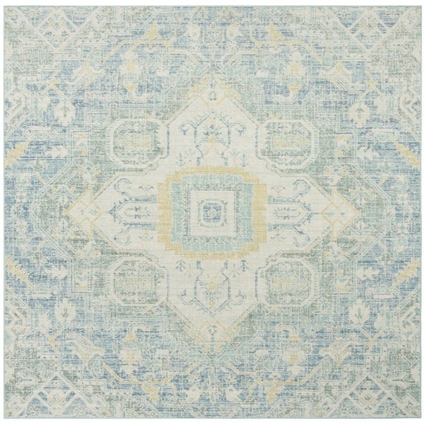 Safavieh Windsor Vintage Blue/ Lime Cotton Rug - 6' x 6' Square