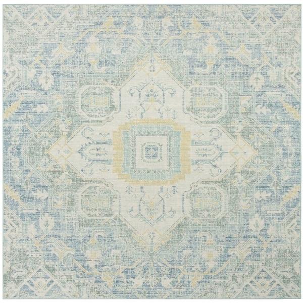 Safavieh Windsor Vintage Blue/ Lime Cotton Rug - 6' Square