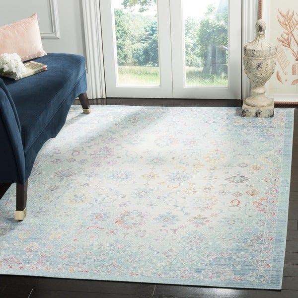 Safavieh Windsor Vintage Seafoam/ Blue Cotton Rug - 6' x 6' Square
