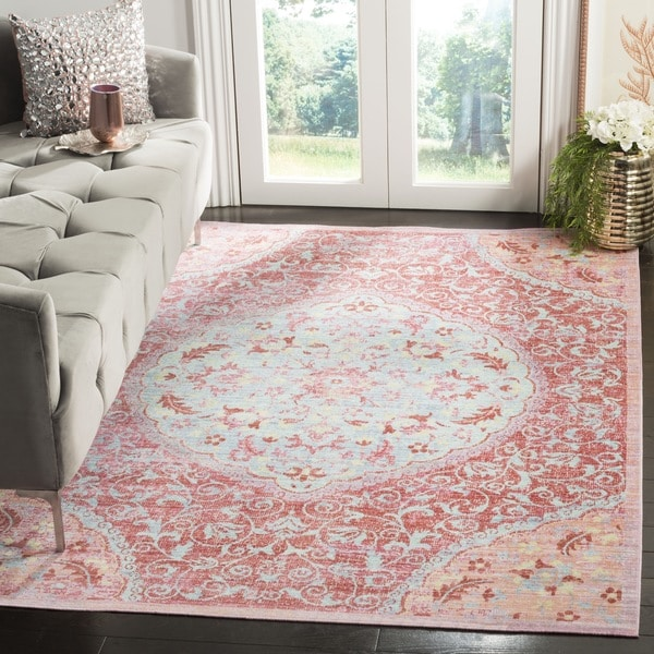 Safavieh Windsor Vintage Rose/ Seafoam Cotton Rug - 6' x 6' Square