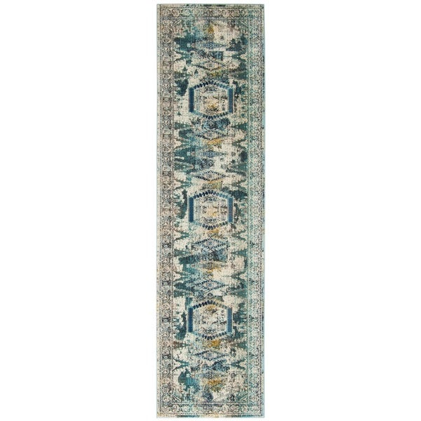 Safavieh Baldwin Vintage Ivory/ Teal Rug (2'2 x 8')
