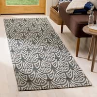 Safavieh Hand-Woven Cape Cod Slate/ Ivory Cotton Rug - 2'3 x 8'