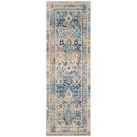 Safavieh Claremont Blue/ Gold Polyester Rug (2'6 x 7'9)