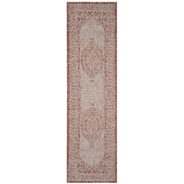 Safavieh Courtyard Light Beige/ Terracotta Rug - 2'3 x 8'