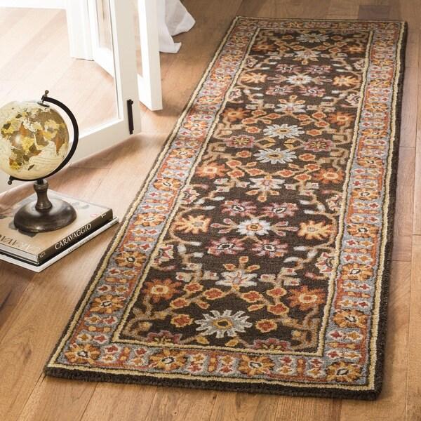 Safavieh Handmade Heritage Charcoal/ Blue Wool Rug (2'3 x 8')