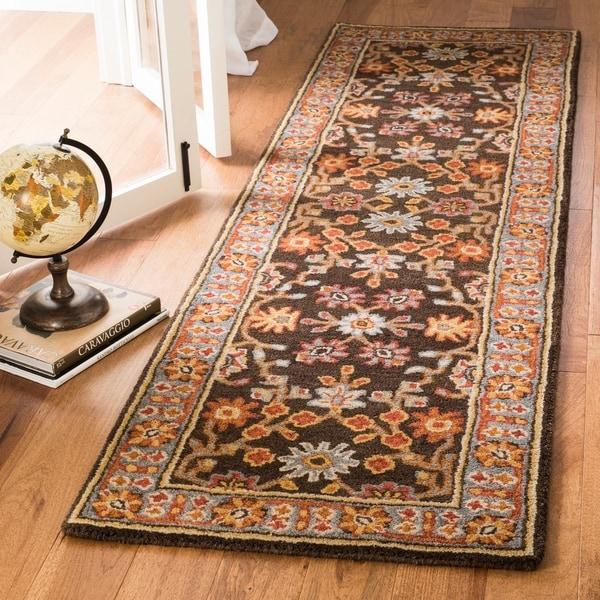 Safavieh Handmade Heritage Charcoal/ Blue Wool Rug - 2'3 x 8'