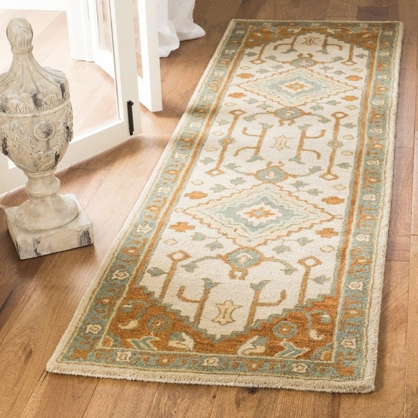 Safavieh Handmade Heritage Light Blue/ Rust Wool Rug (2'3 x 8')