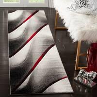 Safavieh Hollywood Grey/ Red Rug - 2'2 x 8'