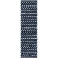 Safavieh Hand-Woven Montauk Turquoise/ Blue/Black Cotton Rug (2'3 x 6')
