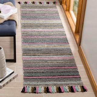 Safavieh Hand-Woven Montauk Black/ Multi Cotton Rug (2'3 x 8')