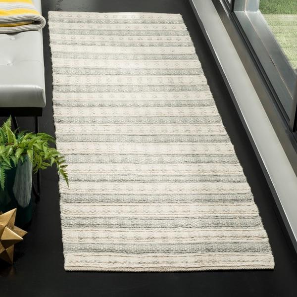 Safavieh Hand-Woven Natura Grey/ Ivory Bamboo Silk Rug - 2'3 x 8'