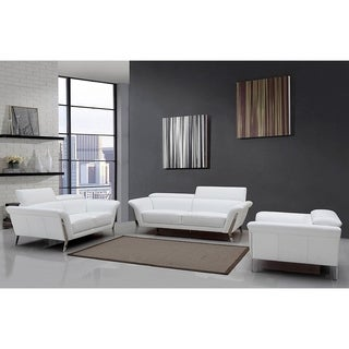Beau Morgan White Italian Leather 3 Piece Living Room Set
