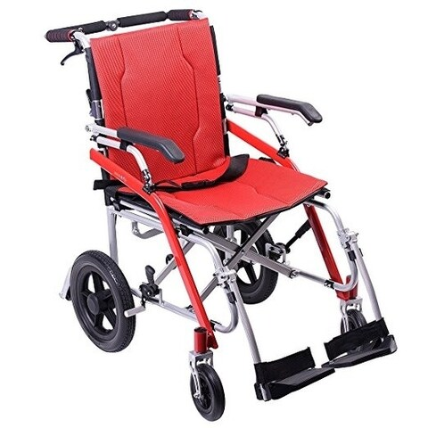 Transport Medical Wheelchair Folding with Magnesium Alloy,Red