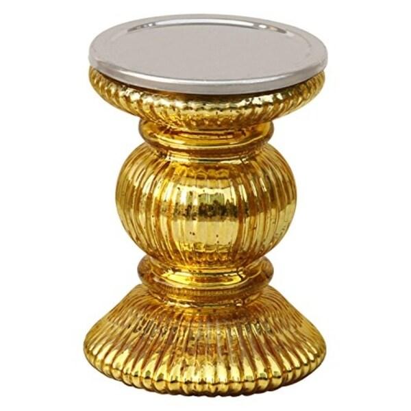 Shop Golden Pillar Candle Holder Glass Decor Centrepiece Candle ...
