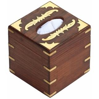 SouvNear Wood 5.6 x 5.6 Inches Tissue Box Cover