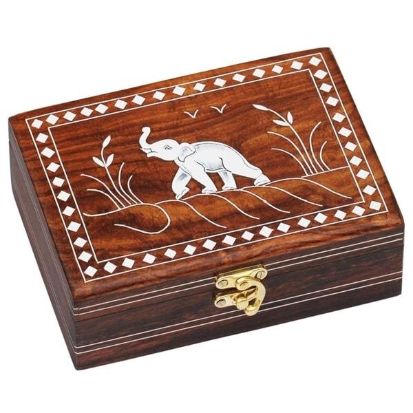 Handmade Wooden Jewelry Box Elephant Greeting Decorative Box
