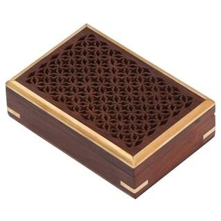 Rectangular Jewelry Box/Trinket Box With Jali Work Brass Inlays