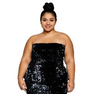 Xehar Womens Plus Size Sequin Front Velvet Back Peplum Tube Top|https://ak1.ostkcdn.com/images/products/18512500/P24623075.jpg?impolicy=medium